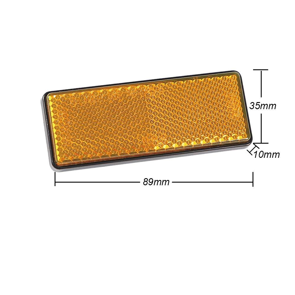 zulassung gelb AOHEWEI 6 x R/ückstrahler Selbstklebend Gelb Seitenstrahler Katzenaugen/Reflektoren Rechteckig zum Aufkleben Sicherheit hinten Reflektierend f/ür Zaunpfosten/Anh/änger Wohnwagen ECE