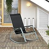 Outsunny Rocking Chair Sun Lounger Garden Seat Patio High Back Texteline Black