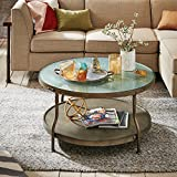 Ink+Ivy Round Coffee Table Cambridge/Hammered Antique Silver