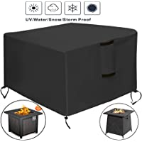 TheElves Square Fire Pit Table Cover, 28x28x25 Inch Waterproof Heavy Duty Patio Gas Firepit Table Cover