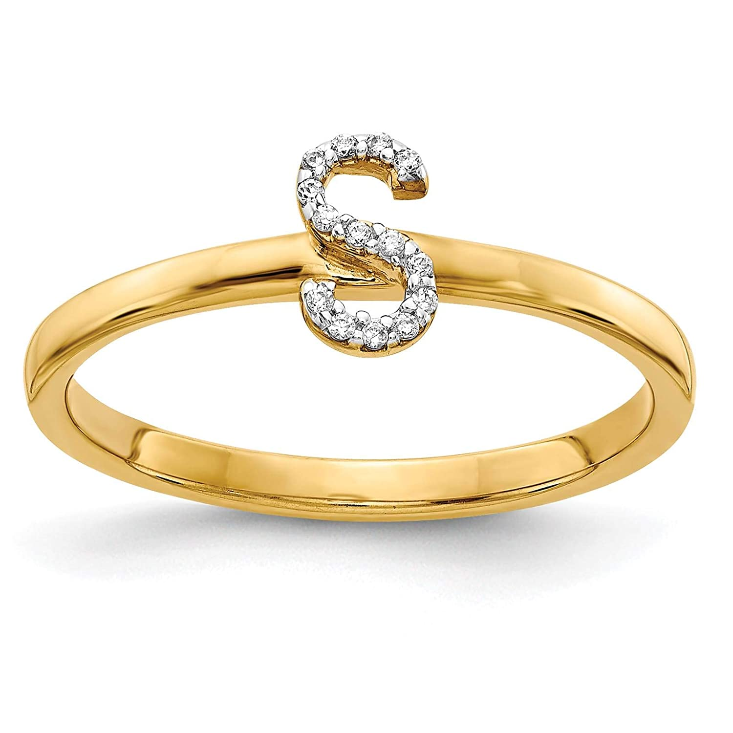 14k Yellow Gold w//Diamond Accent Initial Letter S Ring Size 7