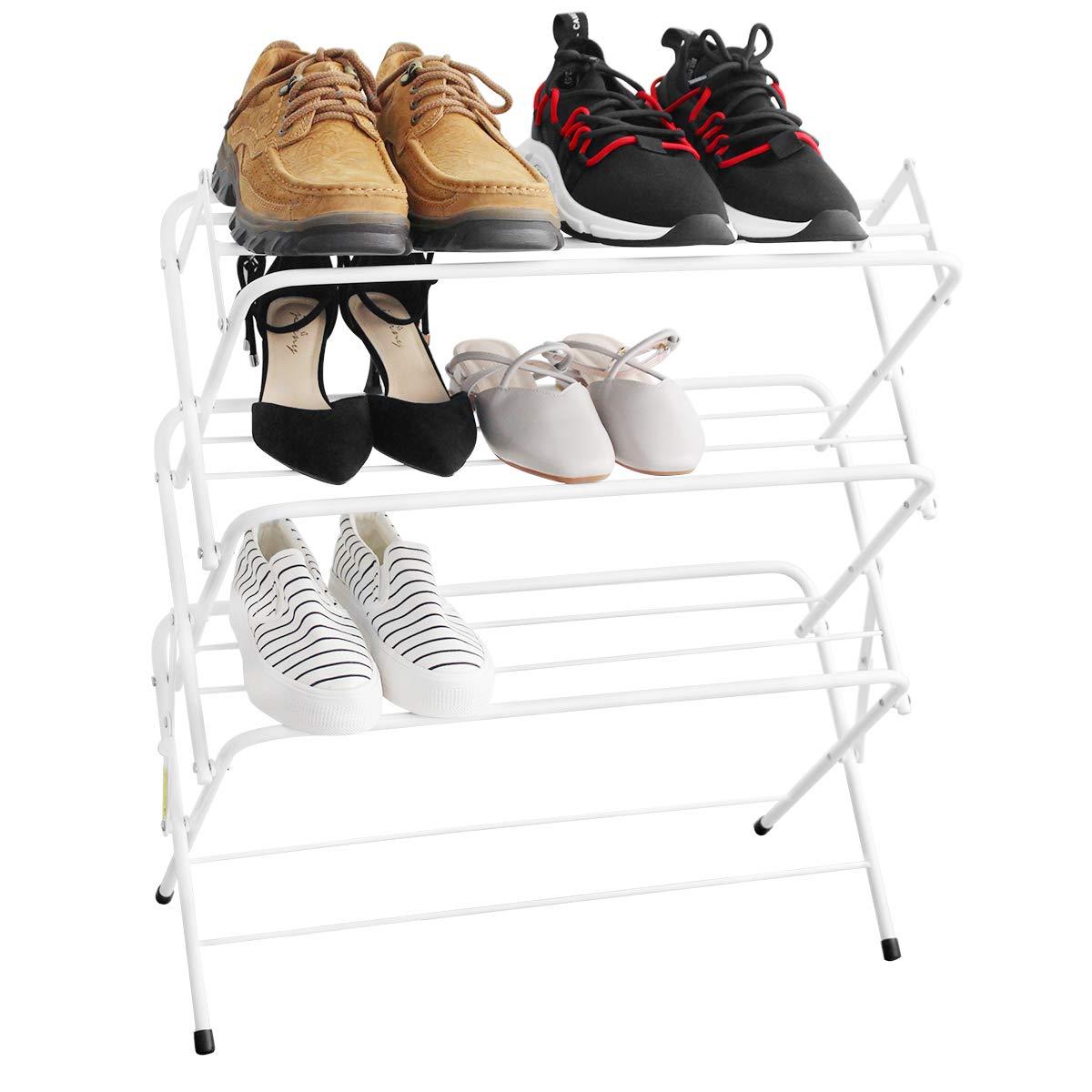 Zenree Shoe Racks Dorm Room Essentials - Portable Folding Shelf Storage Organizer for College Bedroom/Apartment, Matt White