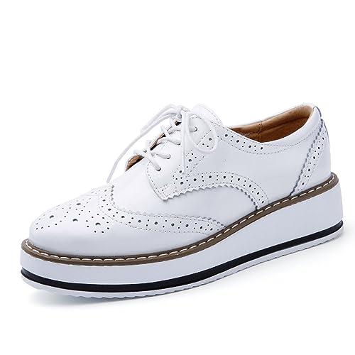 Zapatos de Cordones Vestir Brogue para Mujer Talón Plataforma 4.5 CM Negro Blanco: Amazon.es: Zapatos y complementos
