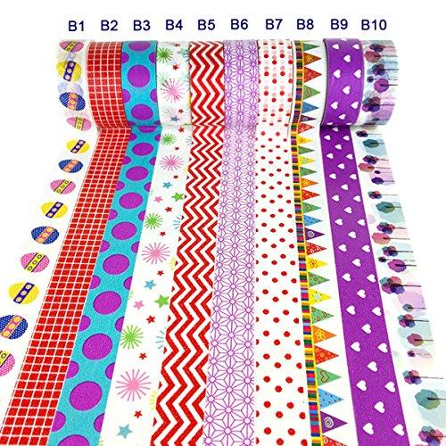 Washi Tape Set of 10,Decorative Washi Tape Collection Gift Packaging Scene Layout Colored Masking Tape (Style02)