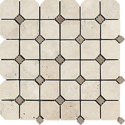 - Ivory Tumbled Travertine Octagon Mosaic W/Noce Dots