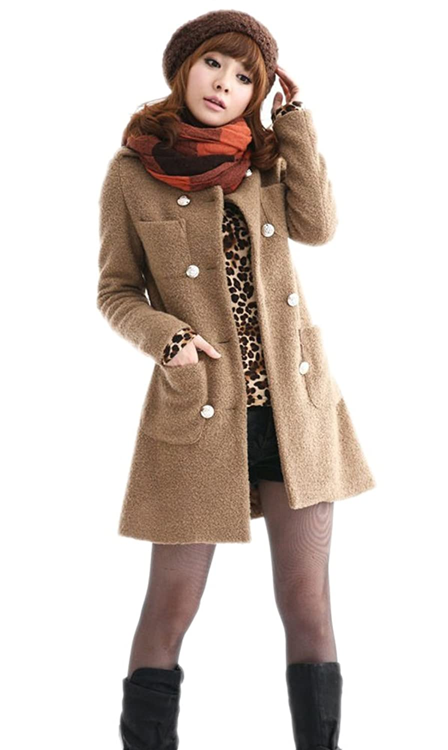 Alionz Women Winter Woolen Blend Collarless Double-breasted Fitted Basic Coat