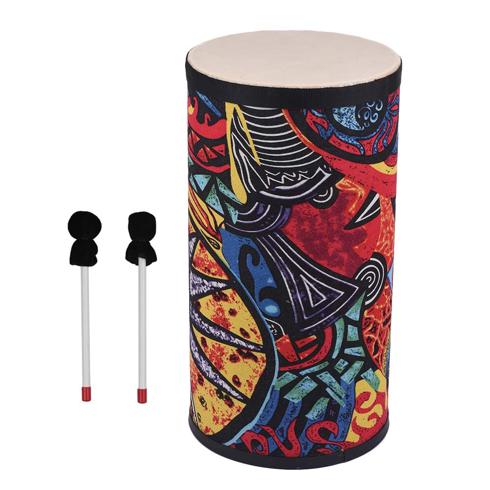 Muslady 8/10 inch Floor Drum Conga Konga Drum Hand Drum Attractive Fabric Art Surface with Shoulder Strap Percussion Instrument for Gathering Street Performance Rhythm Practice by Muslady