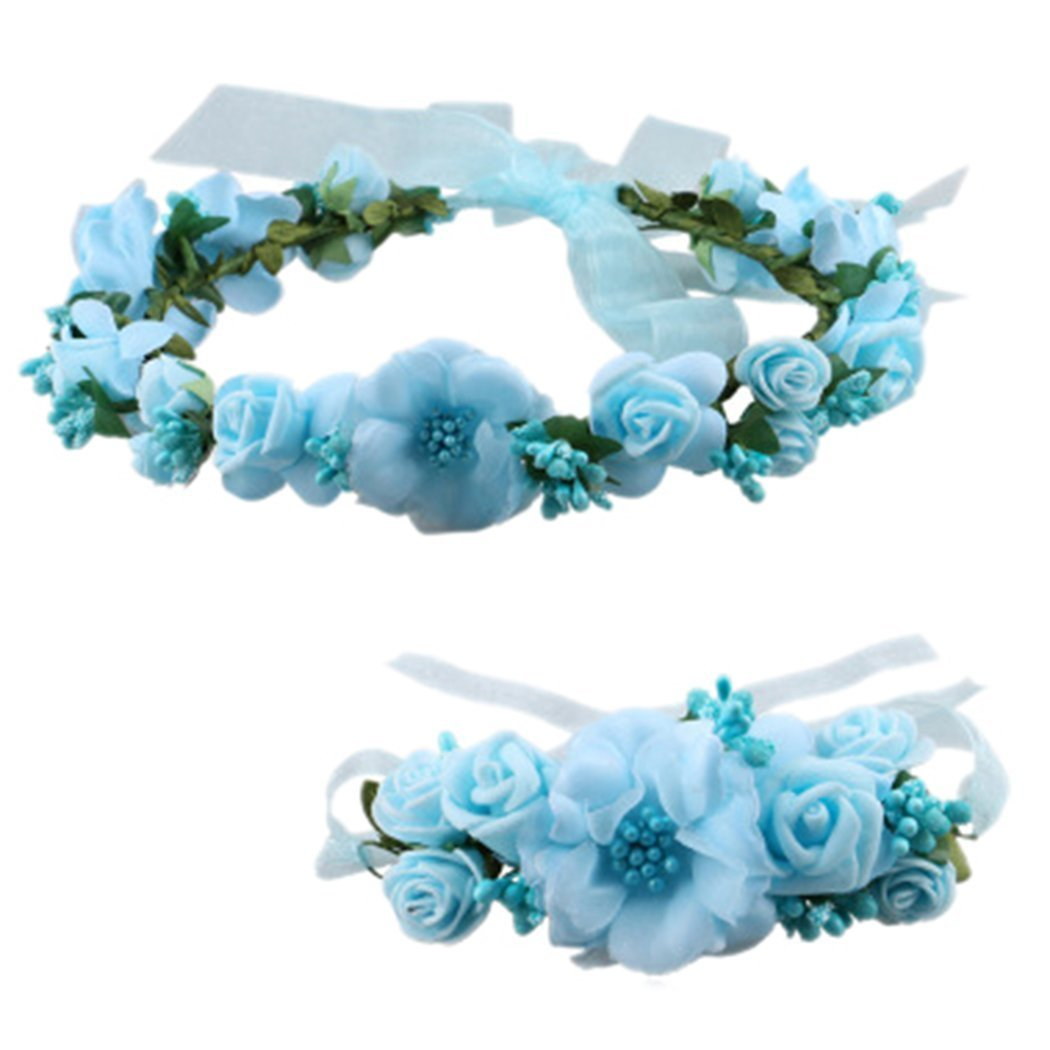 Love Sweety Rose Flower Crown Wreath Wedding Headband Wrist Band Set (Blue)