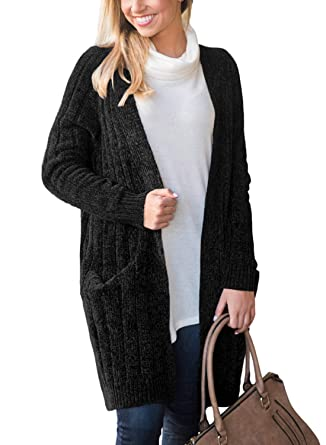 d724aef2c4 Doballa Women s Long Sleeve Velvet Chenille Open Front Cardigan Sweater  Coat with Pockets Black