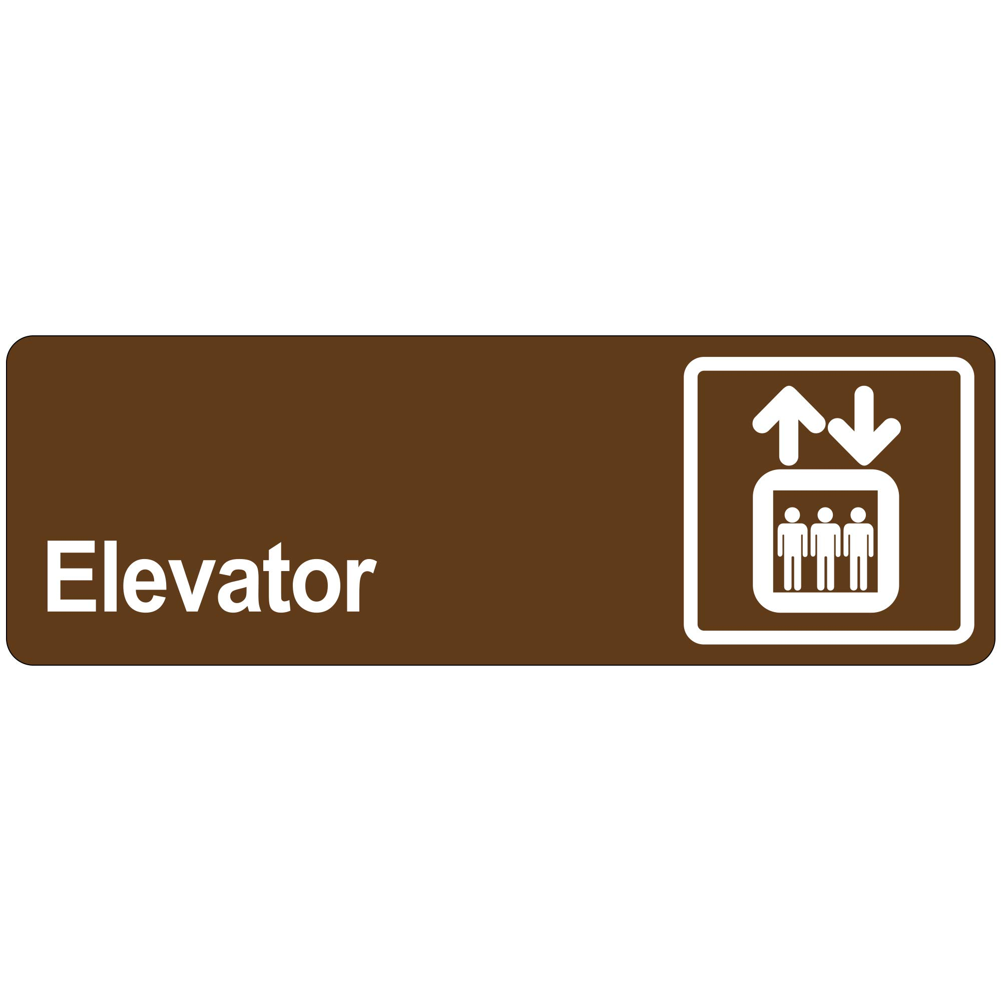 ''Elevator'' Door Sign, 3'' x 9'', Brown, 1/Each