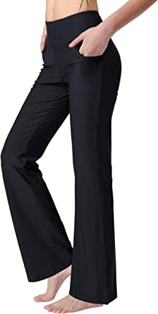 puutiin Bootcut Yoga Pants with Pockets for Women High Waist Workout Bootleg Pants Tummy Control, Wide Leg Pants for Women