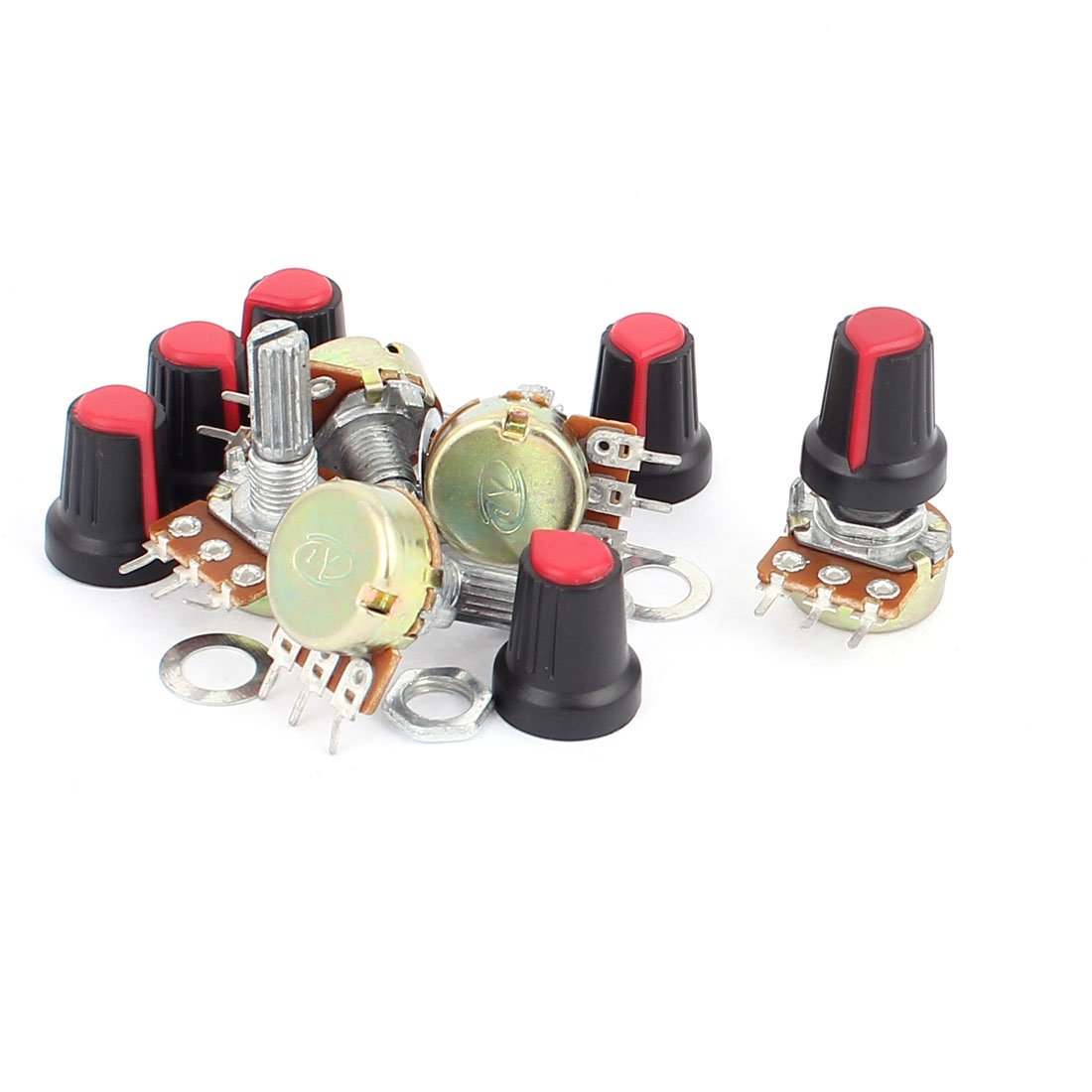 Sourcingmap 1 kOhm 20 mm Linear Rotary Shaft Audio Taper Potentiometer - Red/Black (6-Piece) a16030200ux0961