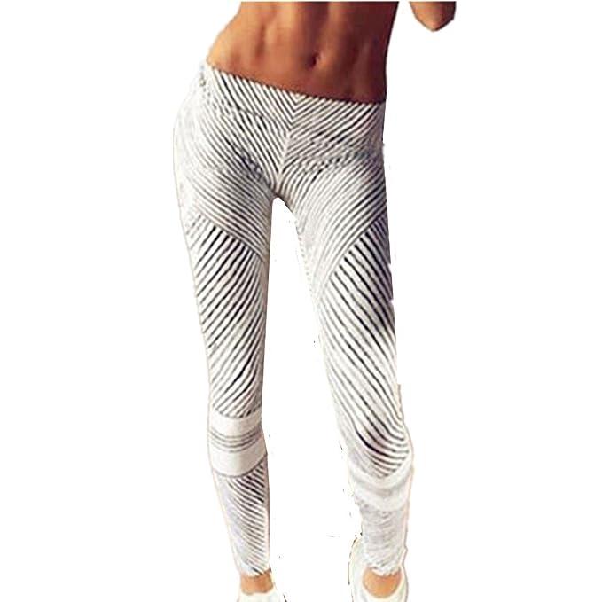 HARRYSTORE Mujer pantalones impresos y elásticos de yoga en blanco y negro rayas Mujer polainas deportivos Fitness Leggings