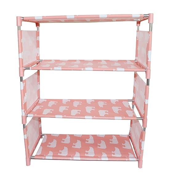 Mopi Pink 4 Shelve Plastic, Metal Collapsible Shoe Stand  Pink, 4 Shelves  Shoe Organization