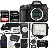 """Canon EOS 7D Mark II DSLR Camera Body with W-E1 Wi-Fi Adapter + 64GB Memory Card + Canon RC-6 Wireless Remote + 72"""" Monopod + Backpack + Condenser Microphone + LED Video Light – Video Accessory Bundle"""