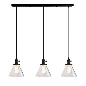 Permo Vintage Rustic Industrial 3-Lights Kitchen Island Chandelier Triple 3 Heads Pendant Hanging Ceiling Lighting Fixture with Funnel Flared Clear Glass Shade (Black)
