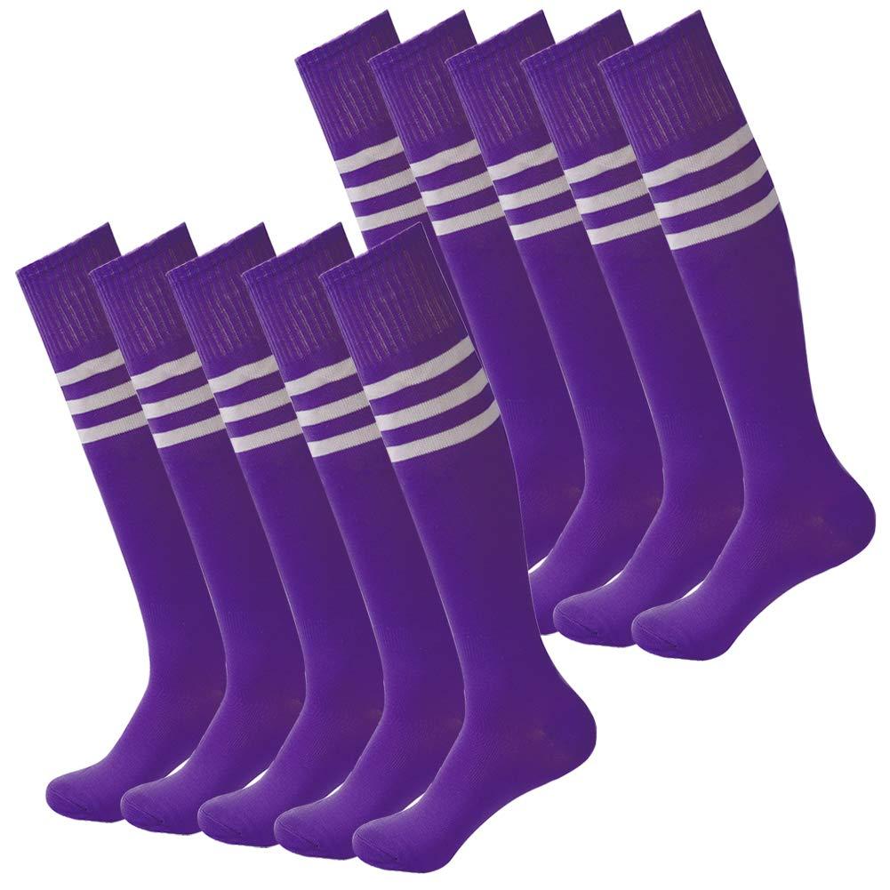 Womens Soccer Socks,Fasoar Unisex Knee High Rubgy Baseball Sports Socks 10 Pairs Purple White Stripe by Fasoar