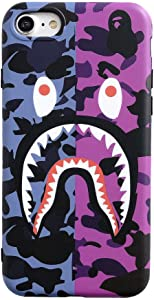 Fanke iPhone 7 iPhone 8 iPhone SE 2020 Case,IMD Sleek Smooth Texture Unfading Coloring Premium TPU Slim Fit Soft Cover for 4.7 iPhone 7 8 SE2 with Street Fashion Trend Design (Purple Pink Shark)