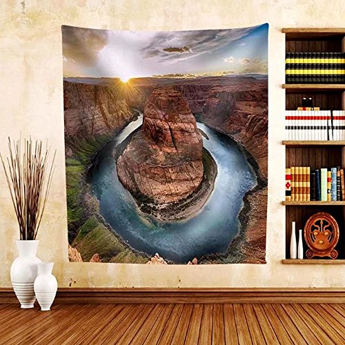 Gzhihine Custom tapestry Sunset Moment at Horseshoe Bend Colorado River Grand Canyon National Park Arizona Usa - Fabric Tapestry Home Decor - Willow Bend Map