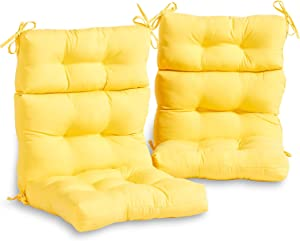 South Pine Porch AM6809S2-SUNBEAM Outdoor High Back Chair Cushion, Set of 2, Solid Sunbeam Yellow