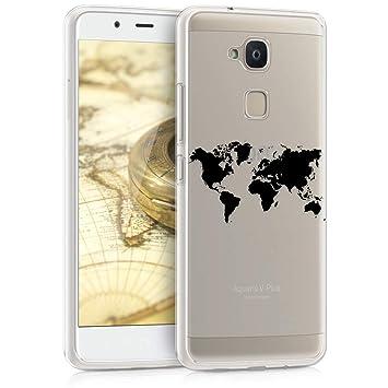 kwmobile Funda para bq Aquaris V - Carcasa de [TPU] para móvil y diseño de Mapa del Mundo en [Negro/Transparente]