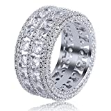 TOPGRILLZ 18K Gold Plated 2 Row Pave Simulated Lab Diamond CZ Bling Eternity Wedding Statement Round Cut Ring Hip Hop Jewelry (White Gold, 7)