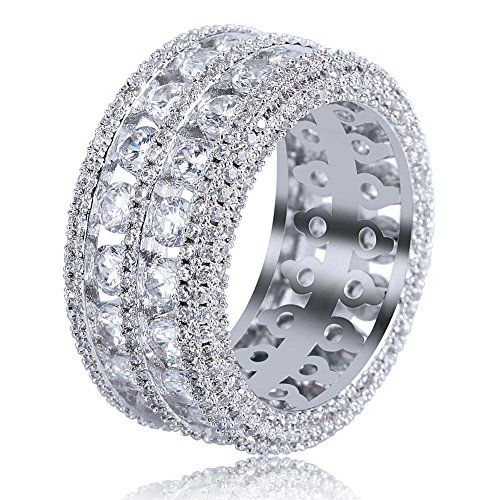 TOPGRILLZ 18K Gold Plated 2 Row Pave Simulated Lab Diamond CZ Bling Eternity Wedding Statement Round Cut Ring Hip Hop Jewelry (White Gold, (Pave Engagement 18k Ring)