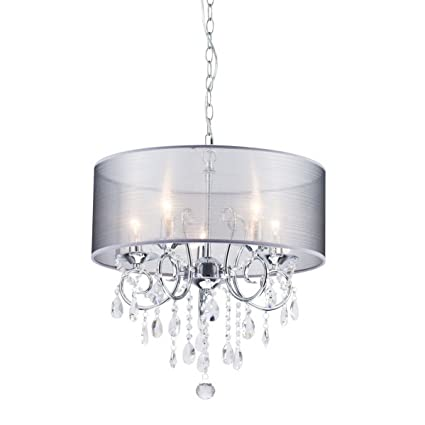 Amazon.com: Dazhuan Modern Pendant with 5 Lights Crystal Drum Style ...