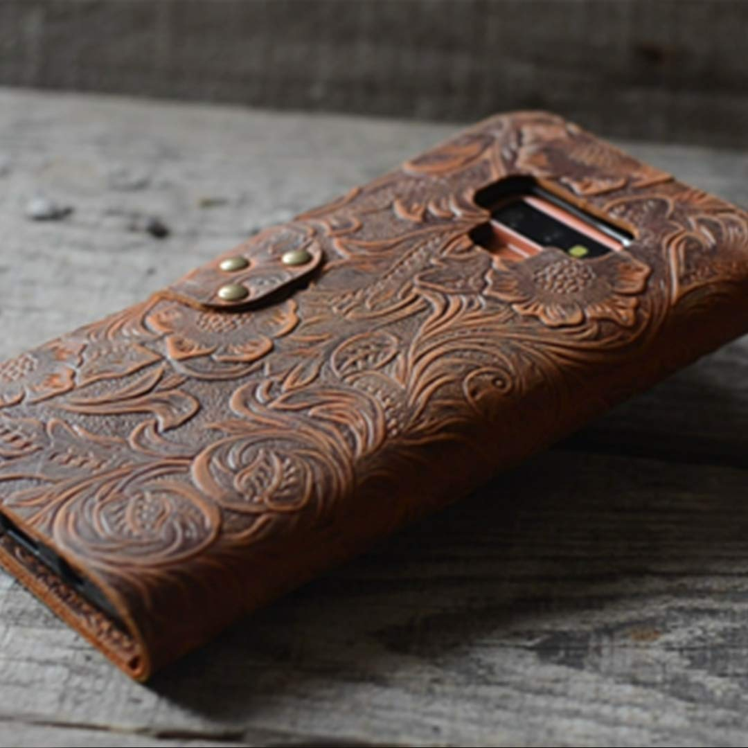 Handmade Genuine leather Retro Book Style for Samsung Galaxy note 9 Leather Wallet Case