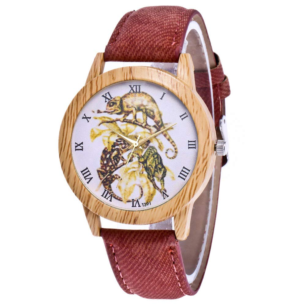 Men Watches Under 10,Women's Fashion Casual Leather Strap Analog Quartz Round Watch,Coffee