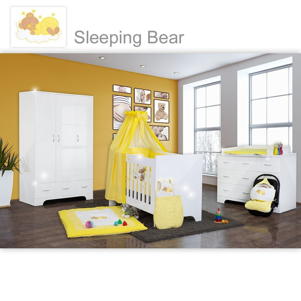 Hochglanz Babyzimmer 12-tlg. mit Sleeping Bear in Gelb
