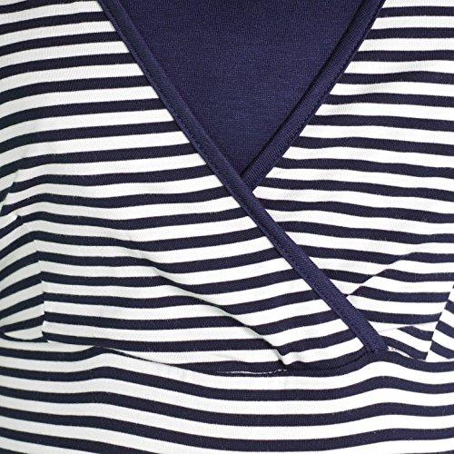 HERZMUTTER -  Pijama premamá de embarazo y lactancia, Rope de dormir Weiß Blau Kurz