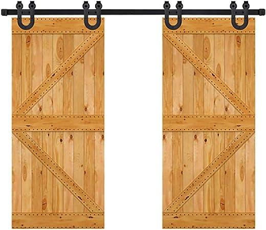 GWXFHTD Herraje para Puerta Corredera Kit Juego De Herrajes De Riel De Herradura Negro para Puerta Doble De 200-400 Cm, Guía De Polea, Riel Colgante (Size : 230cm Double Door Kit): Amazon.es: