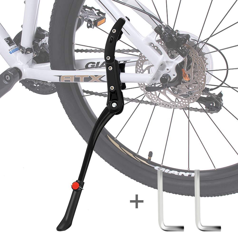 DIAOCARE Cavalletto per Bici Cavalletti per Bicicletta Regolabile Lega Biciclette Cavalletto Laterale Bici con Piede in Gomma per MTB Bici da Strada Biciclette Pieghevoli Antiscivolo,Bici 24-29