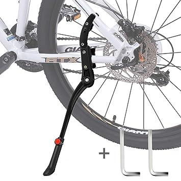 Pata de Cabra Bicicleta,DIAOCARE Aleación Ajustable Lateral de Bicicleta con pie de Goma para 24 - 29Antideslizante Caballete Lateral Caballete ...