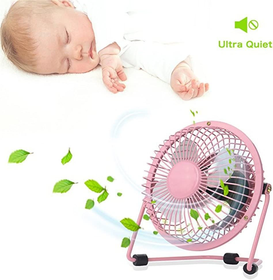 USB Table Desk Personal Fan Mini USB Table Desk Personal Fan Metal Design Quiet Operation 3.9 USB Cable High Compatibility Black Pink White Color for Your Choice for Home Office Table