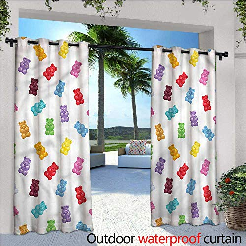 - warmfamily Sweet Outdoor Blackout Curtains Jelly Bears Colorful Yummy Outdoor Privacy Porch Curtains W108 x L84