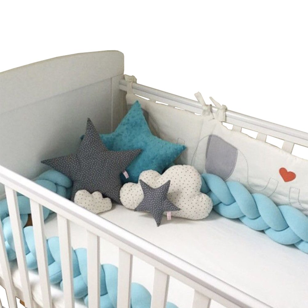 Baby Crib Bumper Knotted Braided Plush Nursery Cradle Decor Newborn Gift Pillow Cushion Junior Bed Sleep Bumper (White-Rose-Green, 79/2 meters) 79/2 meters) LOAOL