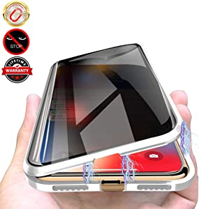 Privacy Magnetic Cases for iPhone SE 2020 / iPhone 7/8, Anti Peeping Clear Double Sided Tempered Glass [Magnet Absorption Metal Bumper Frame] Thin 360 Full Protective Phone Case 4.7'' Silver