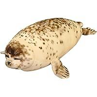 kelebin Cute Fat Sea Lions Plush Toys 3D Novelty Throw Pillows Gaint Soft Seal Stuffed Plush Pillows Home Decor Gift