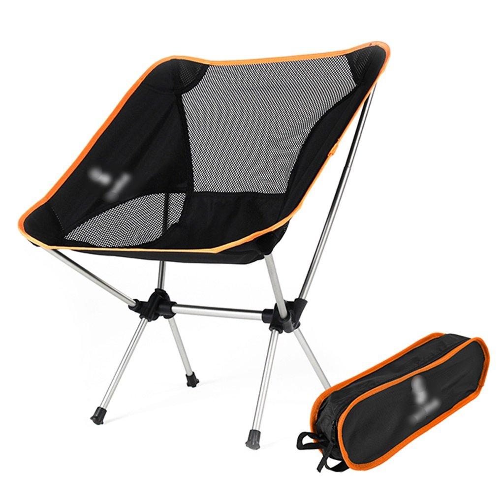 ZGL 旅行椅子 屋外折りたたみチェアポータブルビーチカジュアルチェア折りたたみ釣り用スツール背もたれ椅子屋外椅子の色オプション ( 色 : オレンジ ) B07CG53D49  オレンジ