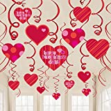 jollylife 40Ct Valentine's Day Decorations Heart Hanging - Party Swirl Ceiling Decor Ornaments Supplies