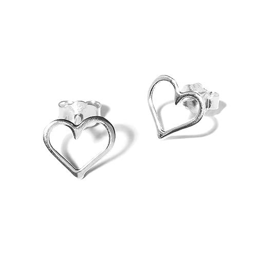 Sterling Silver Heart Earrings Ear Studs handmade