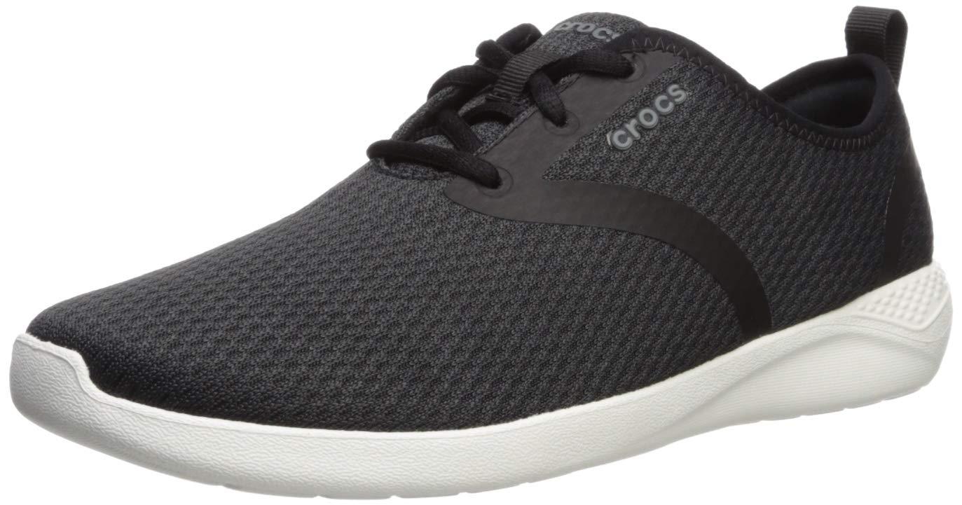 Crocs Men's LiteRide Mesh Lace Sneaker, Black/White, 11 M US by Crocs