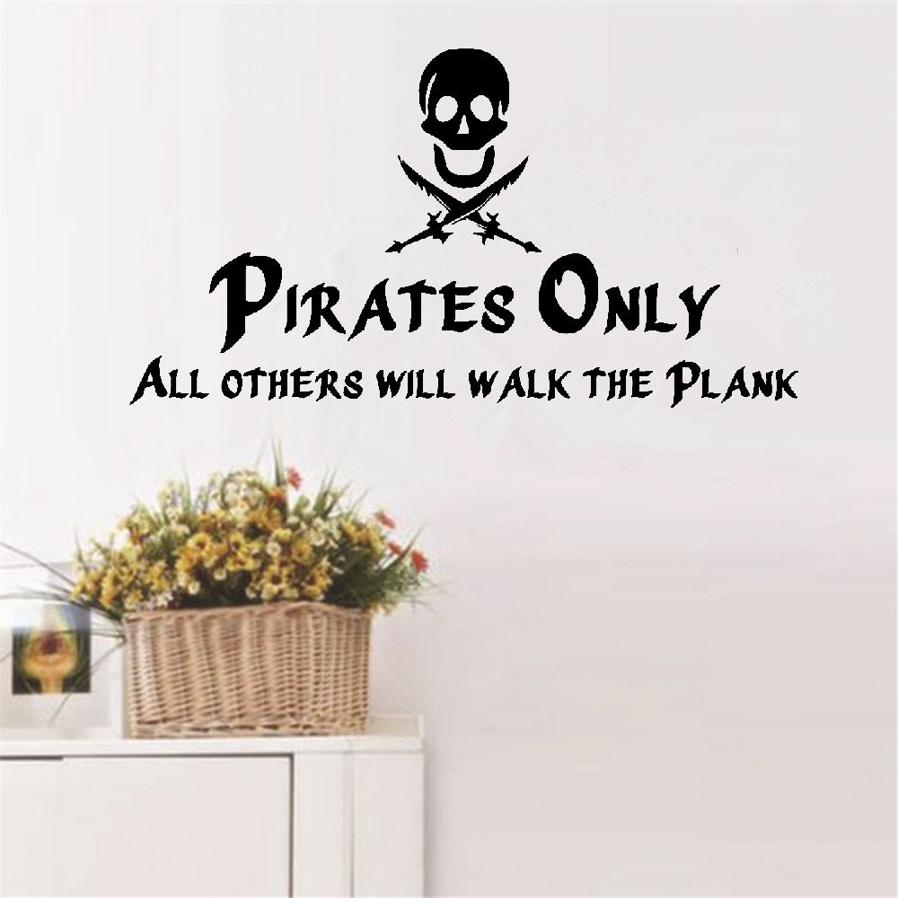 Wall Decal Wall Written Vinyl Wall Decals Quotes Sayings Words Art Deco Lettering Pirates Only all others will walk the plank