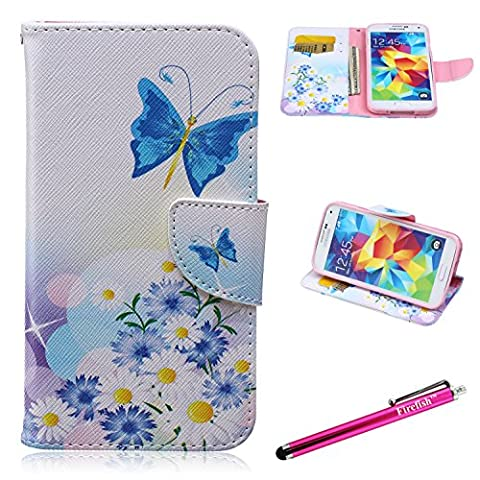 Galaxy S5 Case, Firefish [Kickstand] [Leather Wallet] Lightweight Magnetic Closure [Shock Absorption] Scratch-Resistant Protect for Samsung Galaxy S5 - Blue Butterfly