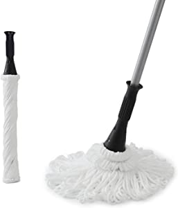 Eyliden 57.5 Inches Microfiber Twist Mop Hand Release Washing Mop Floor Cleaning Dust Mops with 2 Removable Washable Heads Silver