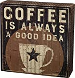 farmhouse kitchen ideas Primitives by Kathy Rustic Box Sign 6 x 6-Inches Coffee is A Good Idea