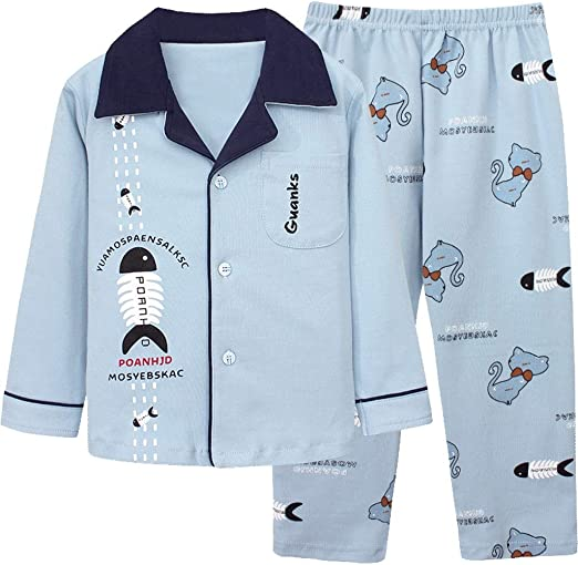 Childrens Pajamas Girls Long-Sleeved Spring and Autumn Cotton Childrens Home Service Autumn Pajamas Long-Sleeved Shirt 2 Piece Set Children 3-11 Years Old Color : 1, Size : 110CM