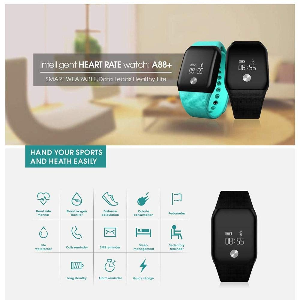 YFWDY sport smart armband fitness tracker bluetooth vattentät klocka blodtryck syre sömn övervakning samtal påminnelse SVART